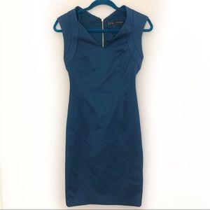 Zara Royal Blue Fitted Zipper Back Dress sz Medium